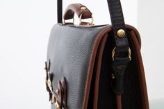 Cathy Prendergast Irish Designer Leather Handbags - Ossian Black and Tan Briefcase Leather Briefcase, Leather Bags, Pebbled Leather, Leather Men, Designer Leather Handbags, Men's Collection, Sling Backpack, Fashion Backpack, Irish