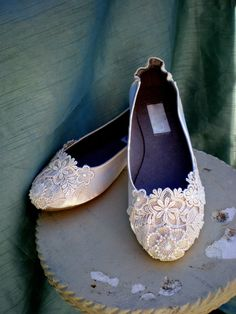 Ivory Wedding Flats  Bridal flats  Size 7  by TheCrystalSlipper, $110.00