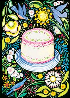 """New """"Birthday"""" by Julie Paschkis. Greeting card featuring a cake, flowers and birds. Folkloric."""
