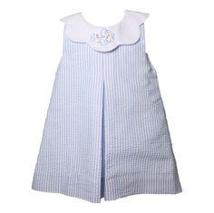 Blue Seersucker Scalloped Collar Dress