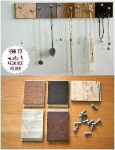 Create a jewelry organizer with a few things you can pick up at a hardware store or find in your home. 😀 Create a jewelry organizer with a few things you can pick up at a hardware store or find in your home. Diy Organizer, Jewelry Organization, Organization Hacks, Organizing Tips, Pick Up, Diy Jewelry Holder, Jewelry Hanger, Wood Crafts, Diy Crafts