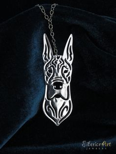 Great dane jewelry  silver plating dog by SiberianArtJewelry, $75.00