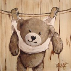 Ourson sur la corde à linge Vintage Teddy Bears, Cute Teddy Bears, Art D'ours, Cute Animals Images, Art Nouveau Poster, Bear Illustration, Country Paintings, Tatty Teddy, Mini Canvas