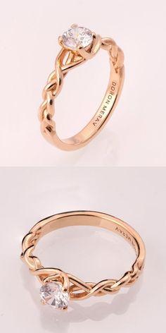 Braided Engagement Ring No.2 - 14K Rose Gold and #diamond engagement ring, 0.5ct diamond ring, engagement ring, celtic, antique, art nouveau #weddingring #UniqueEngagementRings