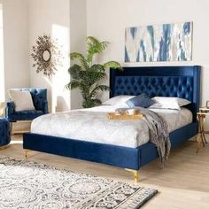 Baxton Studio Valery Modern and Contemporary Navy Blue Velvet Fabric Upholstered King Size Platform Bed with Gold-Finished Legs Royal Blue Bedrooms, Blue And Gold Bedroom, Blue Bedroom Decor, Decoration Bedroom, Queen Size Platform Bed, Bed Platform, Upholstered Platform Bed, Blue Headboard, Blue Bedding
