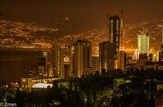 LEBANON, BEIRUT, HOTEL DISTRICT & MOUNT LIBAN ALL LITE=UP