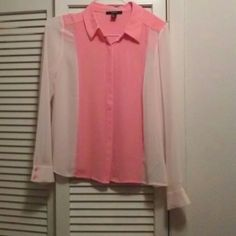 Lovely Coral. & Cream Button. Downed Blouse Soft colors of Coral & Cream make this a Lovely Piece. Cream sheer sleeves with a deeper coral in the sleeve buttons.  Bodice is Coral, with hidden buttons. Great Top for work with an Pencil type skirt or for play. Forever 21 Tops Blouses