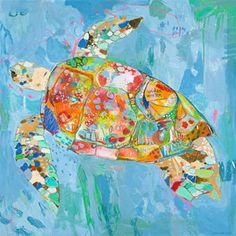 Turtsee tortue en toile imprimé par Jennifer Mercede 24 X 24