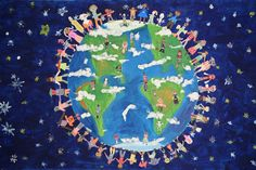 The disastrous ideal world - Consider yourself as GOD for a moment and create an ideal world . Will your world be perfect ? Murals For Kids, Art For Kids, School Murals, Childrens Artwork, We Are All One, Give Peace A Chance, World Crafts, Peace On Earth, Earth Day