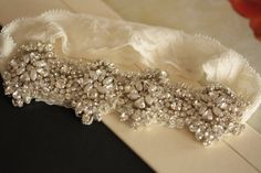Beaded Wedding bridal garter set with lace and by MillieICARO, $79.00