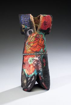 "Kay Khan ~ ""Denma Robe"" Silk, cotton; 14"" x 6"" x 6"" Collaborative project w Binh Pho + Kevin Wallace for book + exhibit ""Shadow of the Turning""  Works > Figures: Contemporary Artifacts Series http://www.kaykhanart.com"