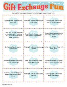Gift Exchange Game.  This might be a fun twist to dirty Santa.  @Krista McNamara McNamara McNamara McNamara Everett