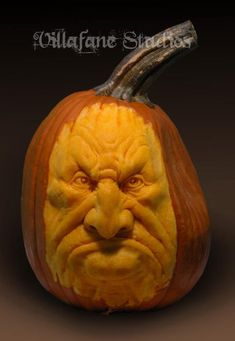 Mr. Grumpy Pumpkin Sculpture/Carving by Ray Villafane