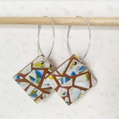MATTONELLE earrings - hoops Inspired by the art of mosaic, terazzo flooring, and decorative ceramic & terracotta tiles (thanks, Clay Tiles, Ceramic Decor, Tile Art, Terracotta, Polymer Clay, Mosaic, Dangles, Hoop Earrings, Flooring