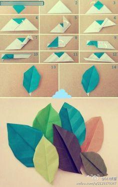 【手工---叶子折纸】简单漂亮的叶子,可以做书签哦~~~