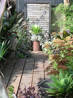 Create a special spot with a small area of multi-level decking with fence boards reused as a focal point. Note the use of a bit of leftover bamboo screening, too. Garden Planters, Garden Art, Garden Design, Old Fence Boards, Bamboo Screening, Old Fences, Lush Green, Creative Thinking, Reuse