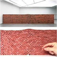 """who has seen the art installation, """"The Impact of a Book"""" by Jorge Mendez Blake? We saw it and thought it would be fun to recreate with our mini red bricks. Turned out pretty cool! Cement Dye, Wooden Architecture, Red Bricks, Pretty Cool, Installation Art, Dollhouse Miniatures, Things To Think About, Street Art, Cool Stuff"""
