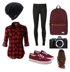 """Monday's outfit?"" by mitralyssa ❤ liked on Polyvore featuring LE3NO, adidas, Vans, Herschel Supply Co., Coal and Olympus"