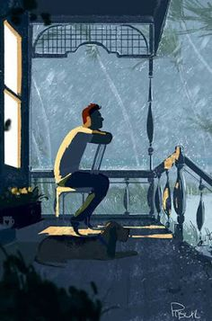 Weathering the storm, Illustration by Pascal Campion Bd Art, Pascal Campion, Ligne Claire, Anime Scenery, Illustrations And Posters, Digital Illustration, Rain Illustration, Cool Art, Concept Art