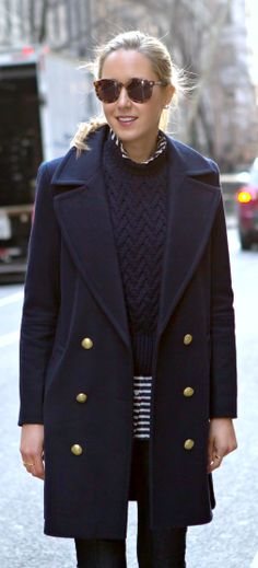 I'd love this coat in a color other than navy.  Like the sunglasses, too.   The classy cubicle: casual friday