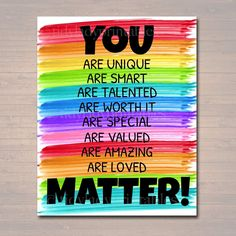 YOU MATTER Classroom Printable, Counseling Office Poster, Counselor Office Decor Therapist Office, Social Worker Sign, Self Esteem Printable – TidyLady Printables – art therapy activities School Counselor Office, School Guidance Counselor, School Counseling, Counseling Office Decor, Counseling Posters, Principal Office Decor, Robert Kiyosaki, Classroom Themes, Diy Classroom Decorations