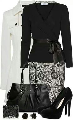 Work outfit - love the skirt, not the purse. The shirt, not so sure about the bow/tie at the waist.