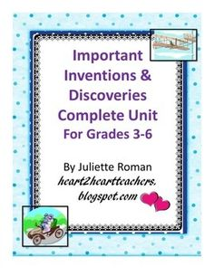 This is a complete unit with everything you need for the entire inventions unit. It comes with step-by-step directions (see below), vocabulary journal, Invention Organizer, timeline, Venn diagram to compare and contrast the invention from olden times to modern day, an outline for  A PowerPoint Presentation, a Scoring Guide for the unit assessment.