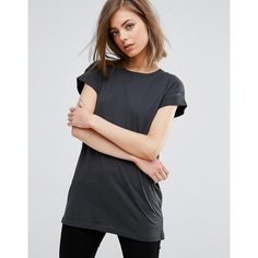 Moss Copenhagen T-Shirt ($23) ❤ liked on Polyvore featuring tops, t-shirts, black, crew neck t shirt, velvet tees, relaxed fit t shirt, crewneck tee and layering t shirts