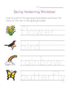 spring handwriting worksheet