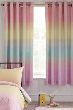 Rainbow Curtains, Ombre Curtains, Rainbow Bedroom, Colorful Curtains, Panel Curtains, Girls Bedroom Curtains, Bedroom Themes, Kids Bedroom, Bedroom Decor