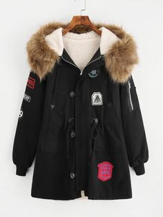 Faux Fur Lined Parka Coat -SheIn(Sheinside) Cute Casual Outfits, Pretty Outfits, Stylish Outfits, Kpop Fashion Outfits, Girls Fashion Clothes, Long Parka Coats, Jugend Mode Outfits, Mode Kpop, Sweatshirts