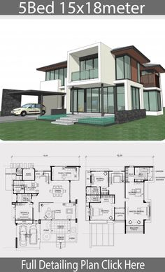 Home design plan 15x18m with 5 bedrooms - Home Design with Plansearch