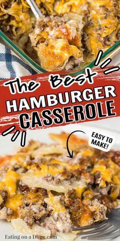 Best Hamburger Casserole Recipes, Ground Beef Potato Casserole, Ground Beef And Potatoes, Potatoe Casserole Recipes, Casserole Dishes, Hamburger Dishes, Hashbrown Hamburger Casserole, Casserole Kitchen, Cheeseburger Casserole