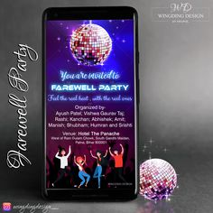 Disco ball themed farewell party E-invite. Any Design Wishes, Contact us.