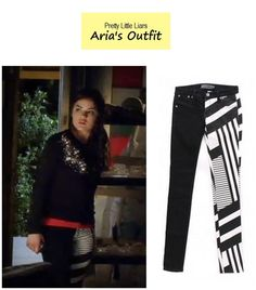 PLL Aria's (Lucy Hale ) mixed print jeans