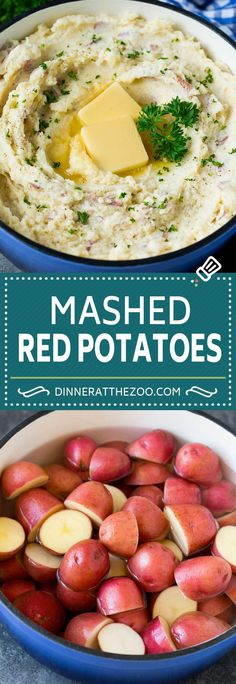 These mashed red potatoes are tender potatoes combined with garlic, butter and seasonings to make a simple yet totally satisfying side dish.
