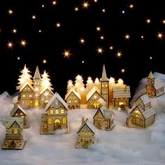 "Cardboard Christmas Village ""My mom had villages all around our house year-round, both simple and elaborate,"" recalls TV crafter Kirsten Earl. Description from pinterest.com. I searched for this on bing.com/images"