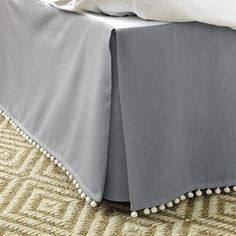 Ballard Designs Audree Pom Pom Bedskirt - used on downstairs guest bed Cotton Bedding, Quilt Bedding, Lace Bedding, Basement Remodel Diy, Basement Bathroom, Get Rid Of Mold, Cama Box, Grey Quilt, Cozy Bed
