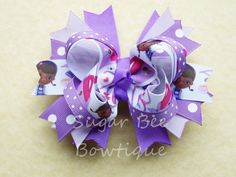 Doc McStuffins bow-Over the top bow-stacked bow-Purple bow-boutique bow-hair bow on Etsy, $9.00