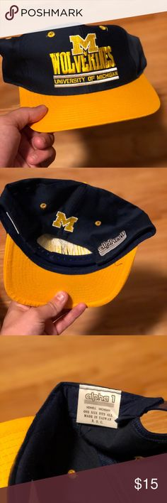 VINTAGE UNIVERSITY OF MICHIGAN WOLVERINES SNAPBACK Size  OS 9-9.5 10  condition Serious inquiries no lowballing Tags  university of michigan  wolverines ncaa ... 08fd89ec3785