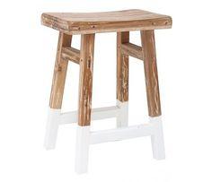 HK-living Stool reclaimed teak wood with white dip 25x42x54cm