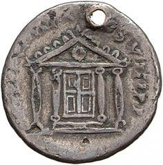 Denario - argento - Roma  (80 d.C. T. Vespasiano) - [TR P IX] IMP X[V C]OS VIII P P. fronte di tempio a quattro colonne con porta chiusa - Münzkabinett Berlin