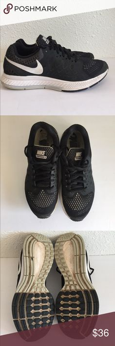 Women's black NIKE Pegasus 31 running shoes size 8 Women's black NIKE Pegasus 31 running shoes size 8. Black and white. Good used condition, lots of life left in these runners. Visible wear as shown in pics. Nike Shoes Athletic Shoes