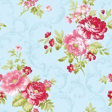 31171 - Anitique Blue / Pink - Rose - Shabby Chic - Floral - Wallpaper