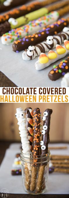 halloween desserts Halloween pretzels are fun and spooky chocolate covered pretzels, topped with sprinkles, candy corn, candy eyes and more to make them a perfect treat for Halloween time! Halloween Snacks, Halloween Goodies, Halloween Candy, Halloween Dessert Recipes, Halloween Cupcakes Decoration, Halloween Cupcakes Easy, Halloween Crafts, Halloween Costumes, Holiday Desserts