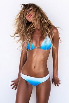 Image: Blue and white bikini, new arrivals, latest collection.