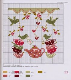 Tea set with birds pattern / chart for cross stitch, alpha pattern, crochet… Cross Stitch Kitchen, Cross Stitch Love, Cross Stitch Charts, Cross Stitch Designs, Cross Stitch Patterns, Cross Stitching, Cross Stitch Embroidery, Embroidery Patterns, Sewing Crafts