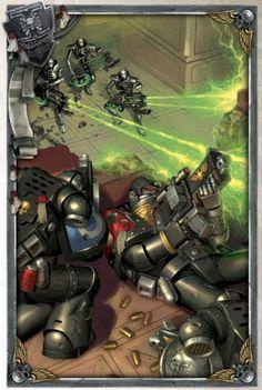 DeathWatch Marines Take Cover Warhammer 40k Necrons, Warhammer Models, Warhammer Fantasy, Character Art, Character Design, Grey Knights, Deathwatch, Space Wolves, Space Marine