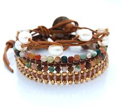 Sunset Beach bracelet stack.  Reverse stitch beaded leather wrap bracelets with braided pearls.