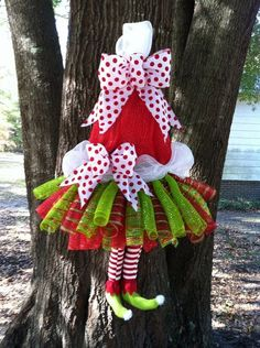 SALE: Extra Large, Whimsical Santa Christmas Elf Tutu Wreath, Santa Elf Legs  Santa Hat Deco Mesh Wreath Door Hanger Decoration on Etsy, $85.00